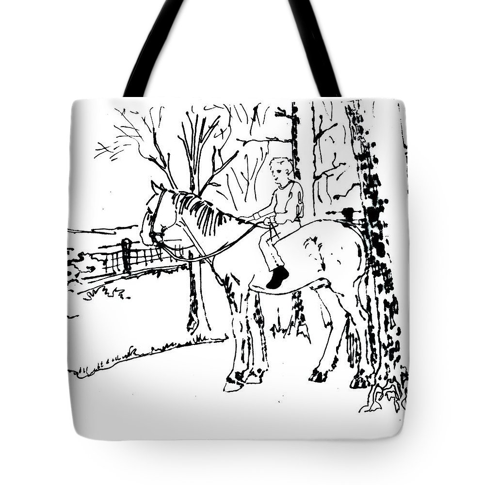 Horse Tote Bag featuring the drawing Dan And Horse 11 by Larry Campbell