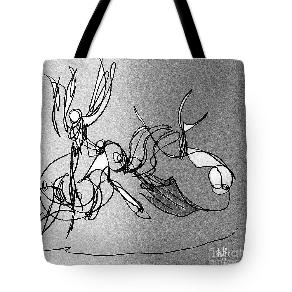 Dance Tote Bag featuring the digital art Dance At Sunrise Bw by Anthe Capitan-Valais