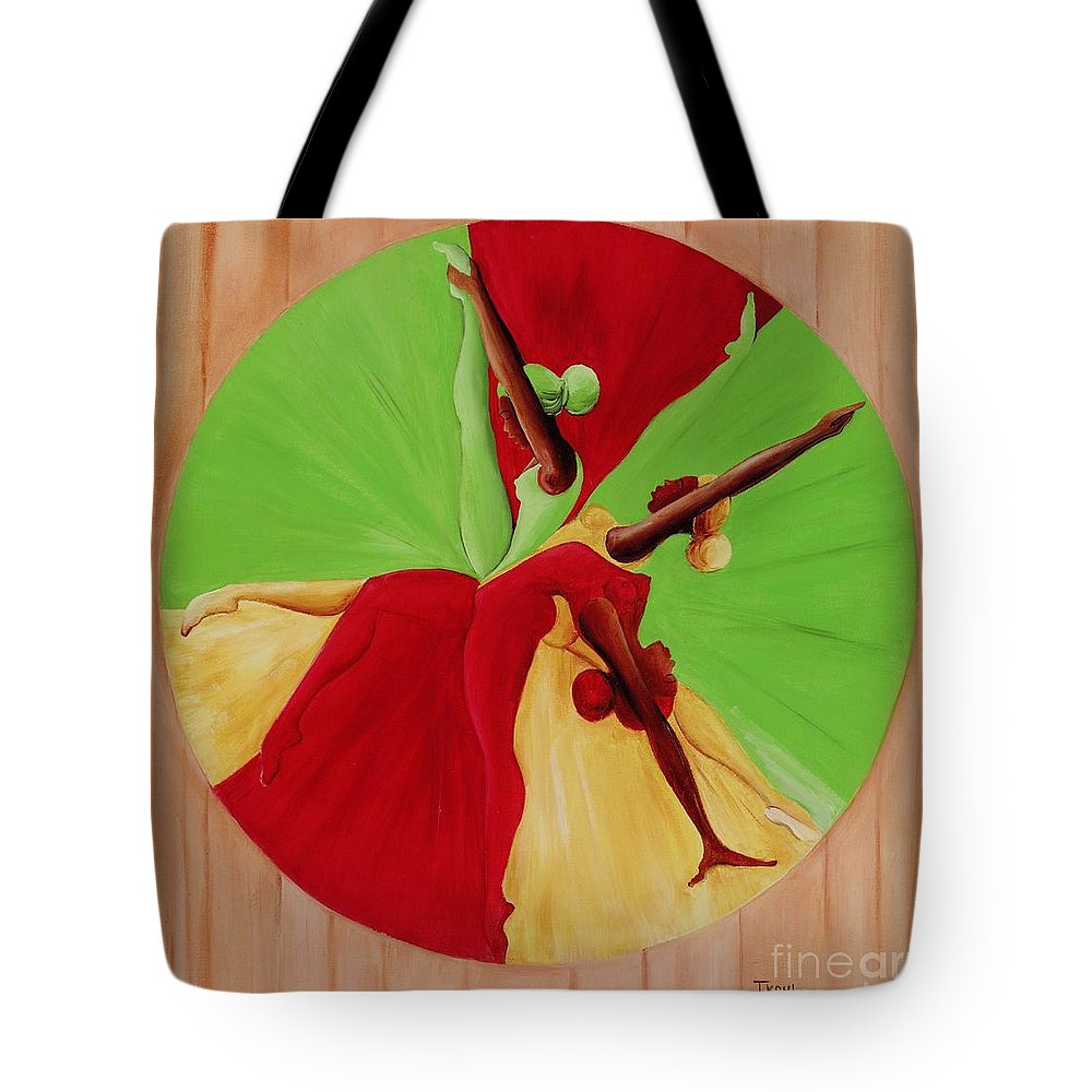 Dancing Tote Bag featuring the painting Dance Circle by Ikahl Beckford