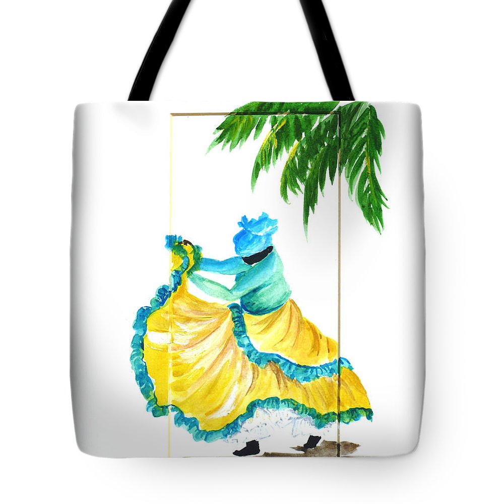 Dance Folk Caribbean Tropical Tote Bag featuring the painting Dance De Belaire by Karin Dawn Kelshall- Best