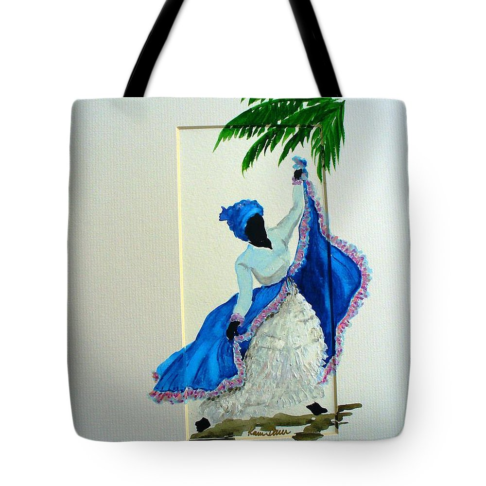 Folk Dance Caribbean Tropical Tote Bag featuring the painting Dance De Pique by Karin Dawn Kelshall- Best