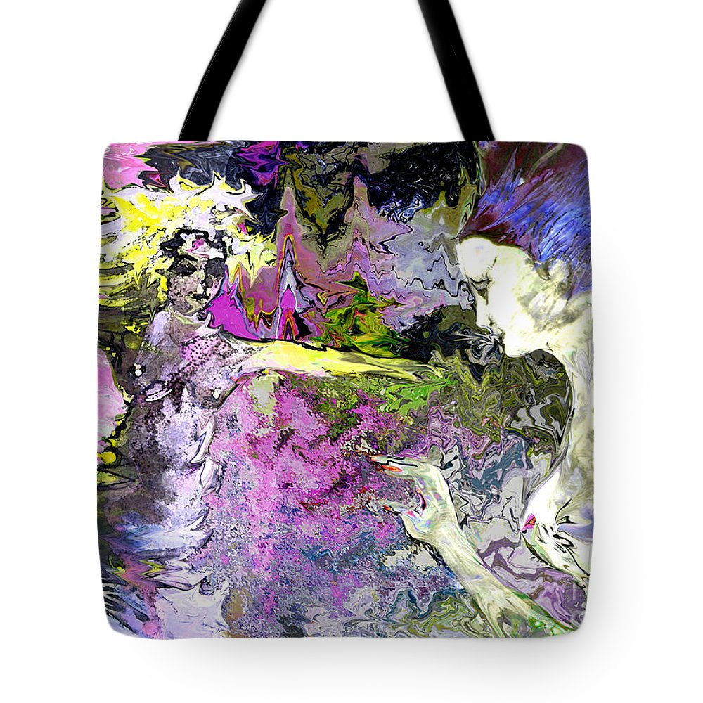 Miki Tote Bag featuring the painting Dance In Violet by Miki De Goodaboom