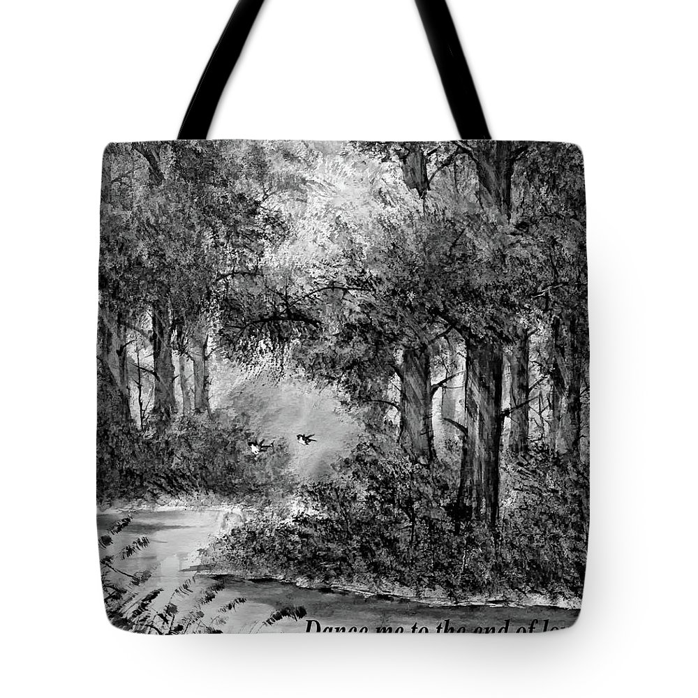 Thailand Tote Bag featuring the painting Dance Me To The End Of Love Bw by Steve Harrington