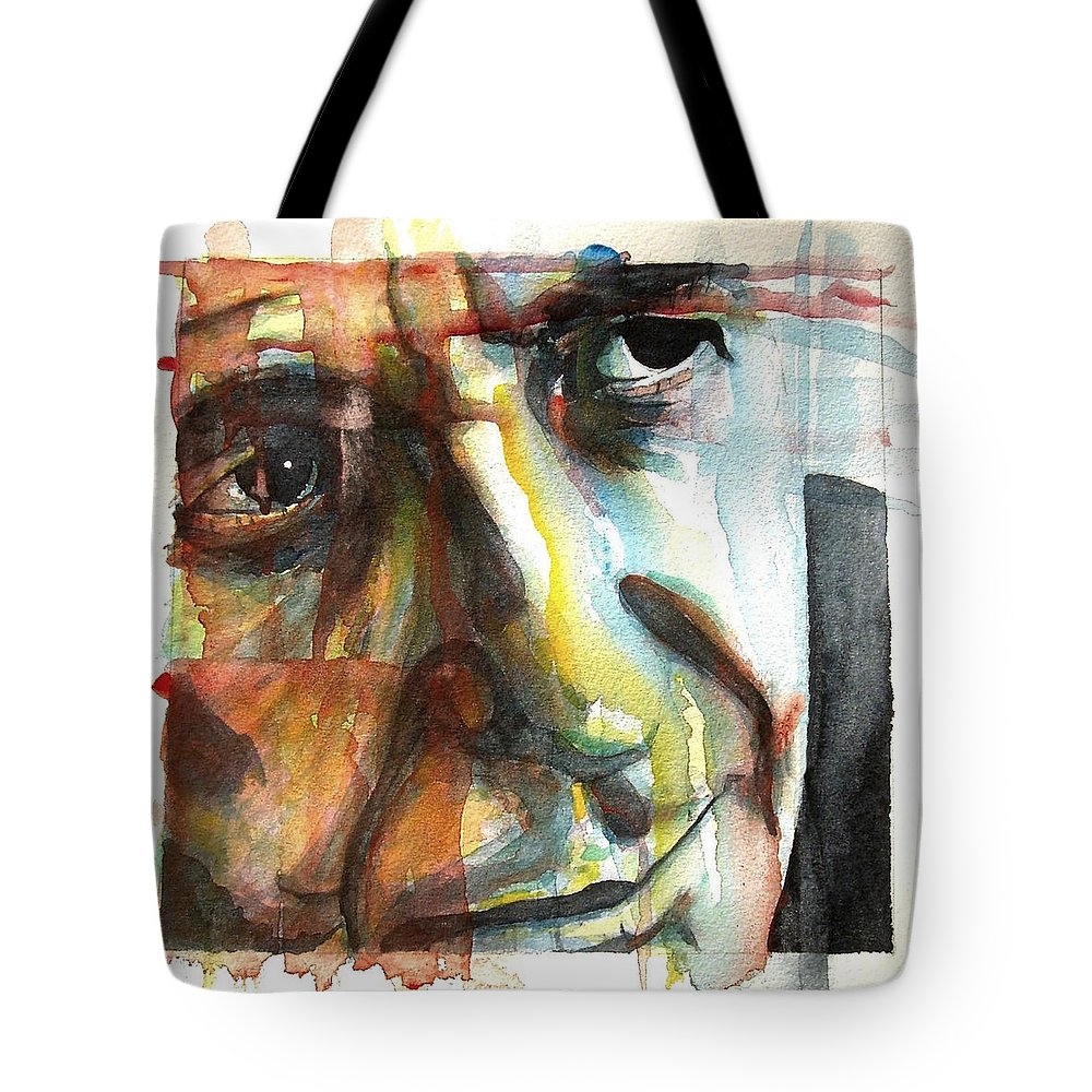 Leonard Cohen Tote Bag featuring the painting Dance Me To The End Of Love by Paul Lovering