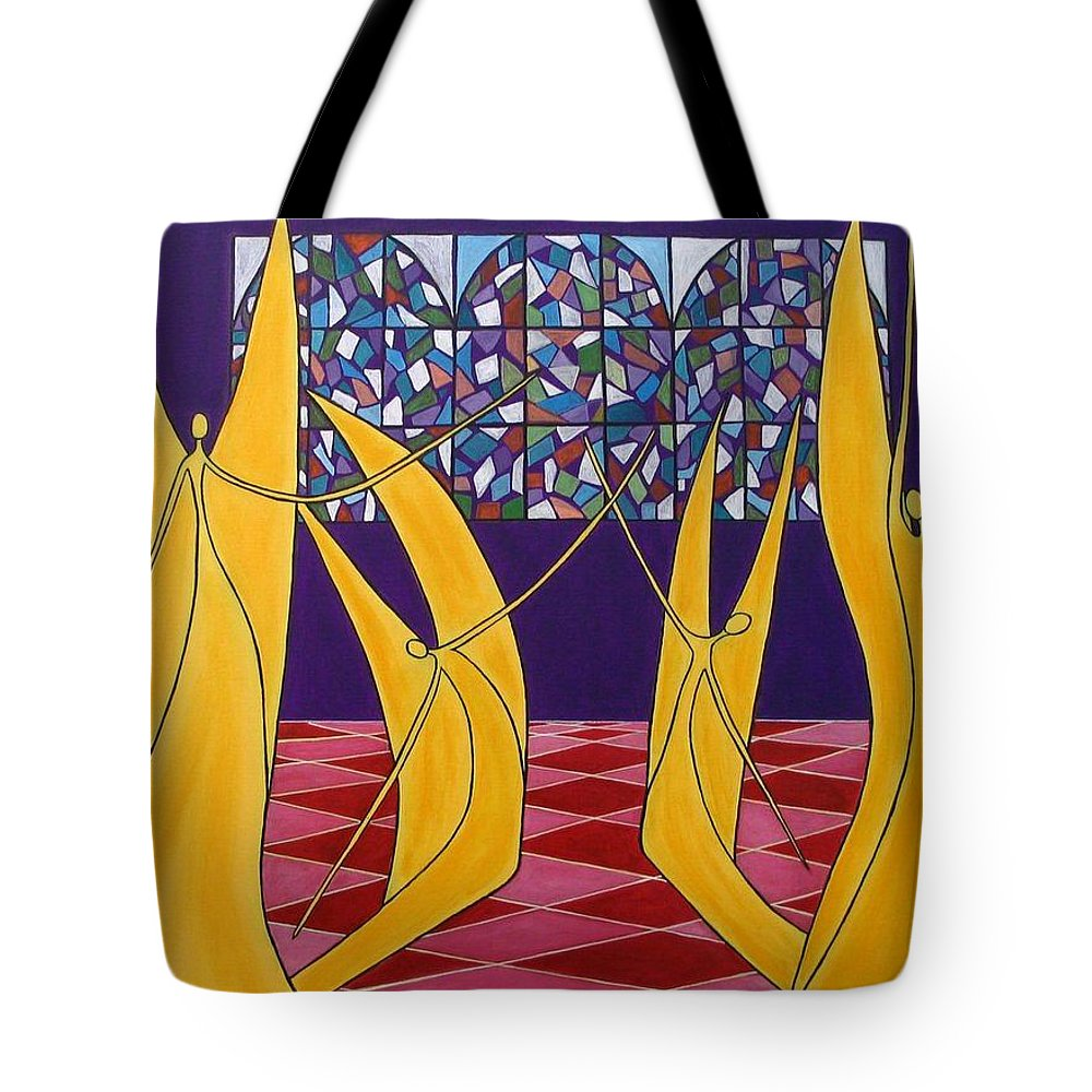 Dance Of Angels Tote Bag featuring the painting Dance Of Angels by Sandra Marie Adams