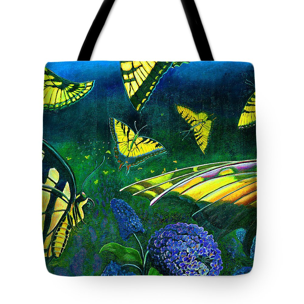 Butterfly Tote Bag featuring the painting Dance Of The Butterflies by Peter Bonk