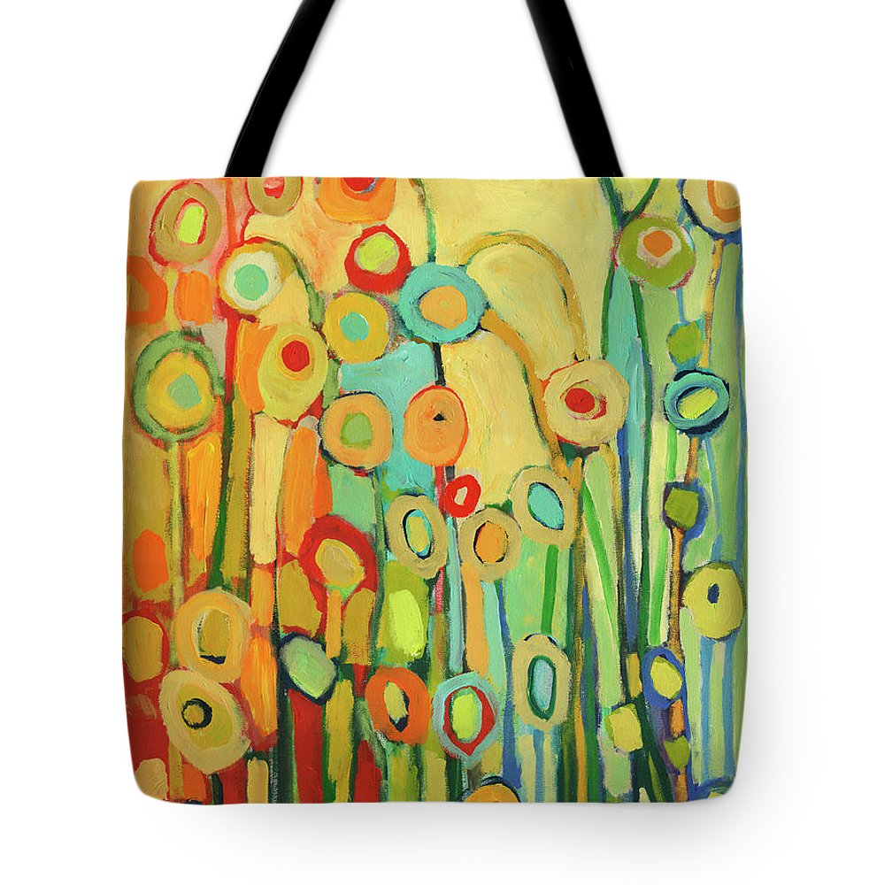Floral Tote Bag featuring the painting Dance of the Flower Pods by Jennifer Lommers