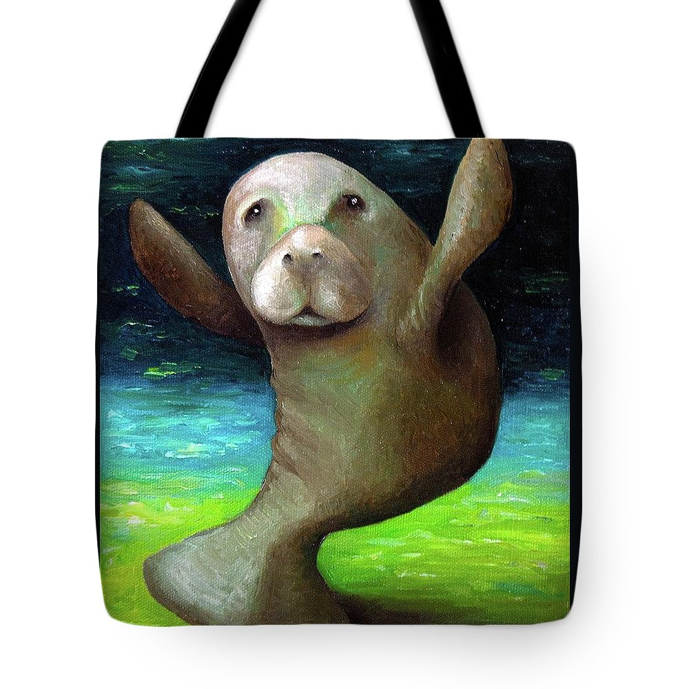 Manatee Tote Bag featuring the painting Dance Of The Manatee by Leah Saulnier The Painting Maniac