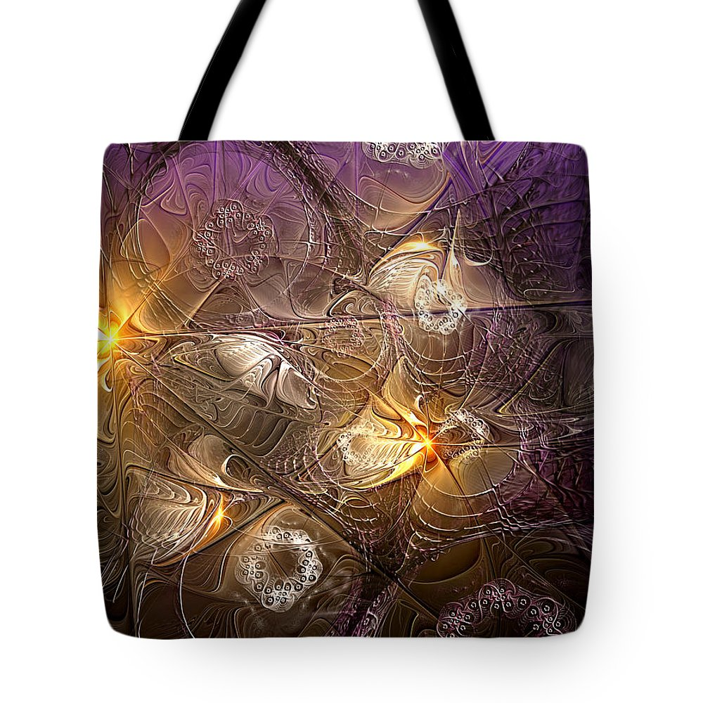 Abstract Tote Bag featuring the digital art Dance Of The Necromancer by Casey Kotas