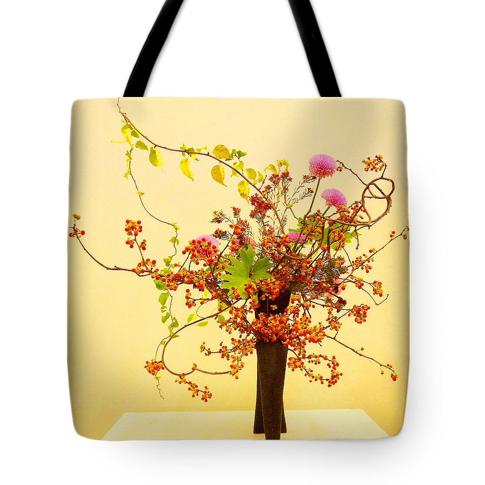 Japanese Art Tote Bag featuring the mixed media Dance of the Oriental Bittersweet by Wako Fujisawa