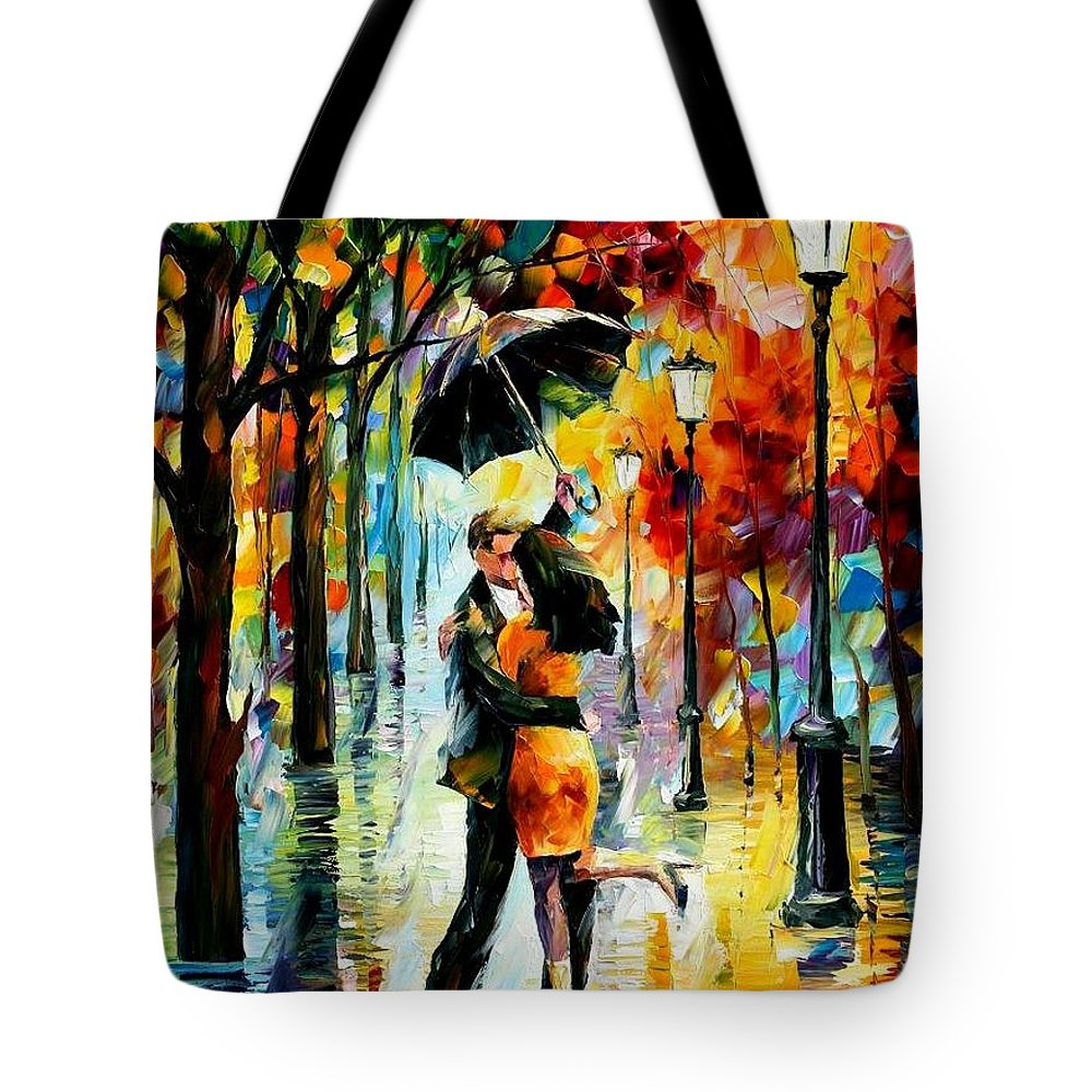 Afremov Tote Bag featuring the painting Dance Under The Rain by Leonid Afremov