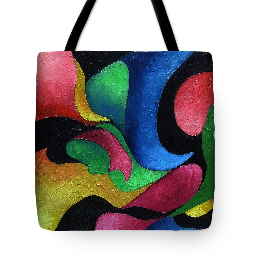 Abstract Tote Bag featuring the painting Dance With Me by Elizabeth Lisy Figueroa