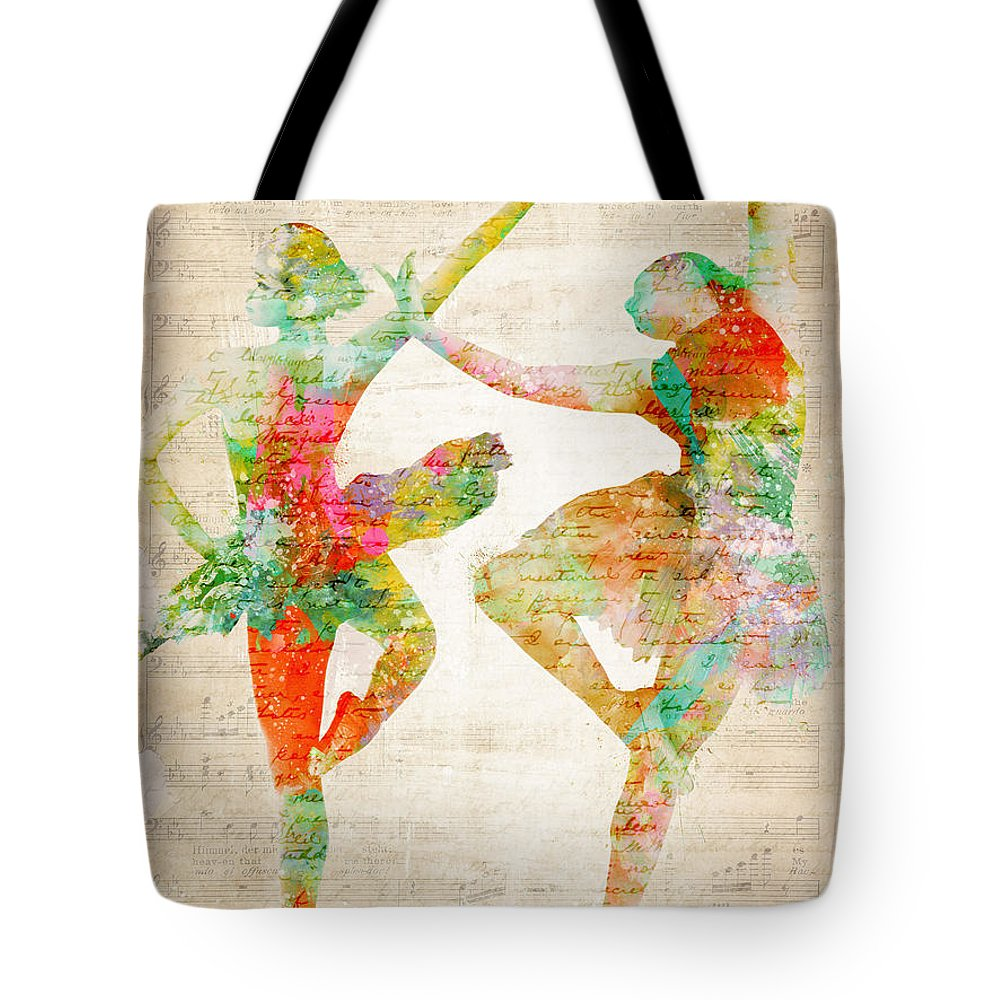 Ballet Tote Bag featuring the digital art Dance With Me by Nikki Smith