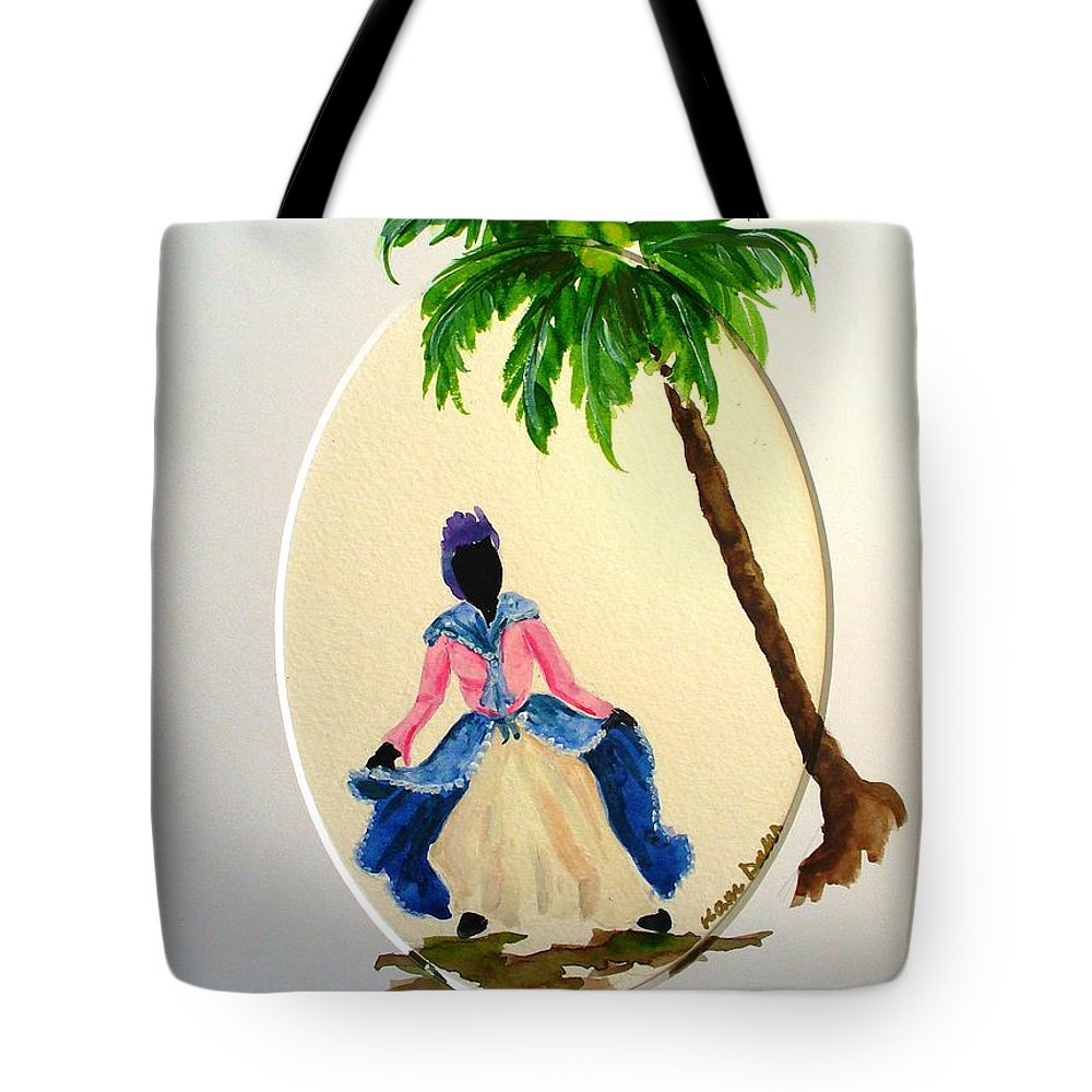 Dancer Caribbean Tote Bag featuring the painting Dancer 2 by Karin Dawn Kelshall- Best
