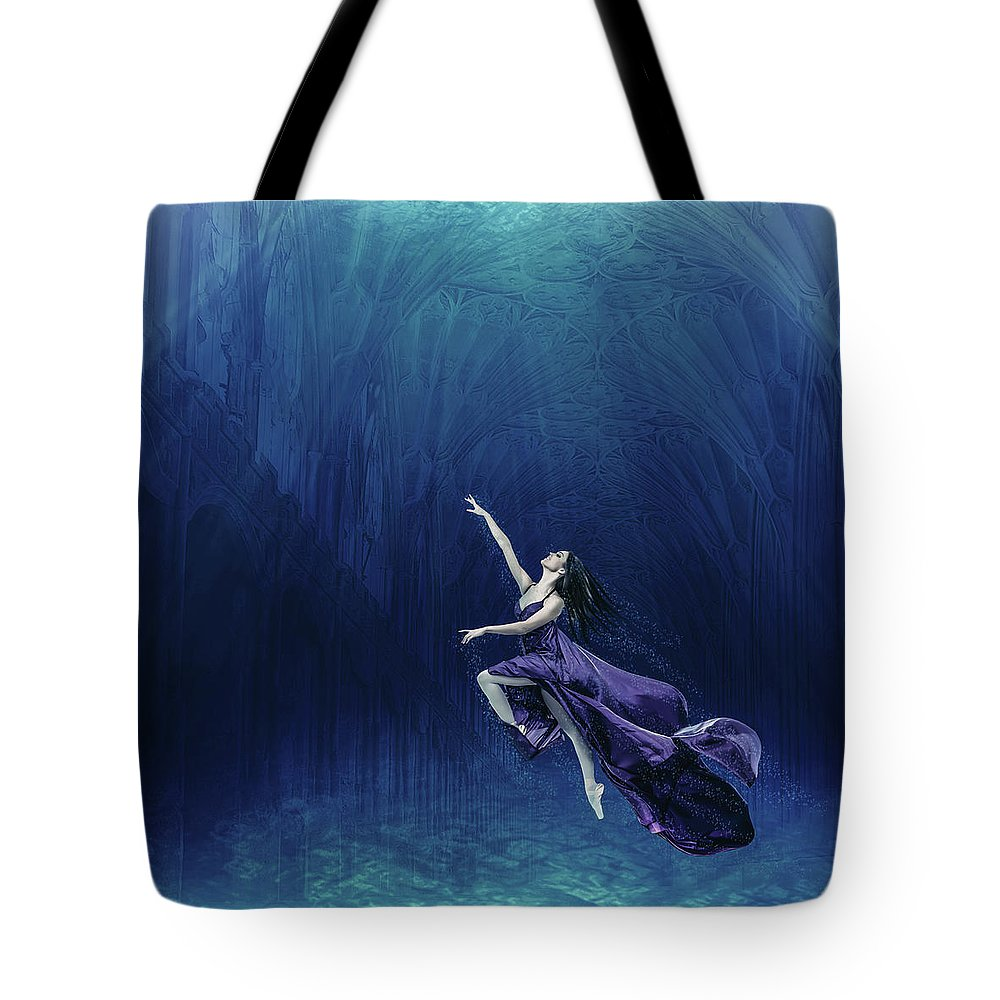Water Tote Bag featuring the digital art Dancer In The Water by Matthew Abraham