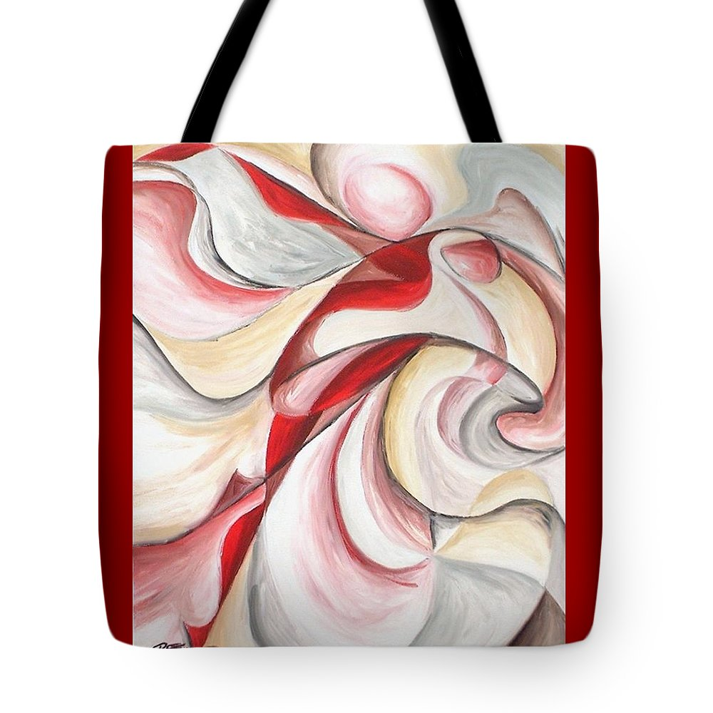 Abstract Tote Bag featuring the painting Dancer by Rowena Finn