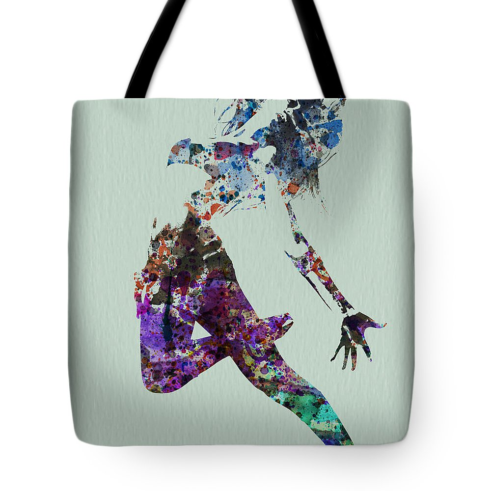 Dancer Tote Bag featuring the painting Dancer Watercolor by Naxart Studio