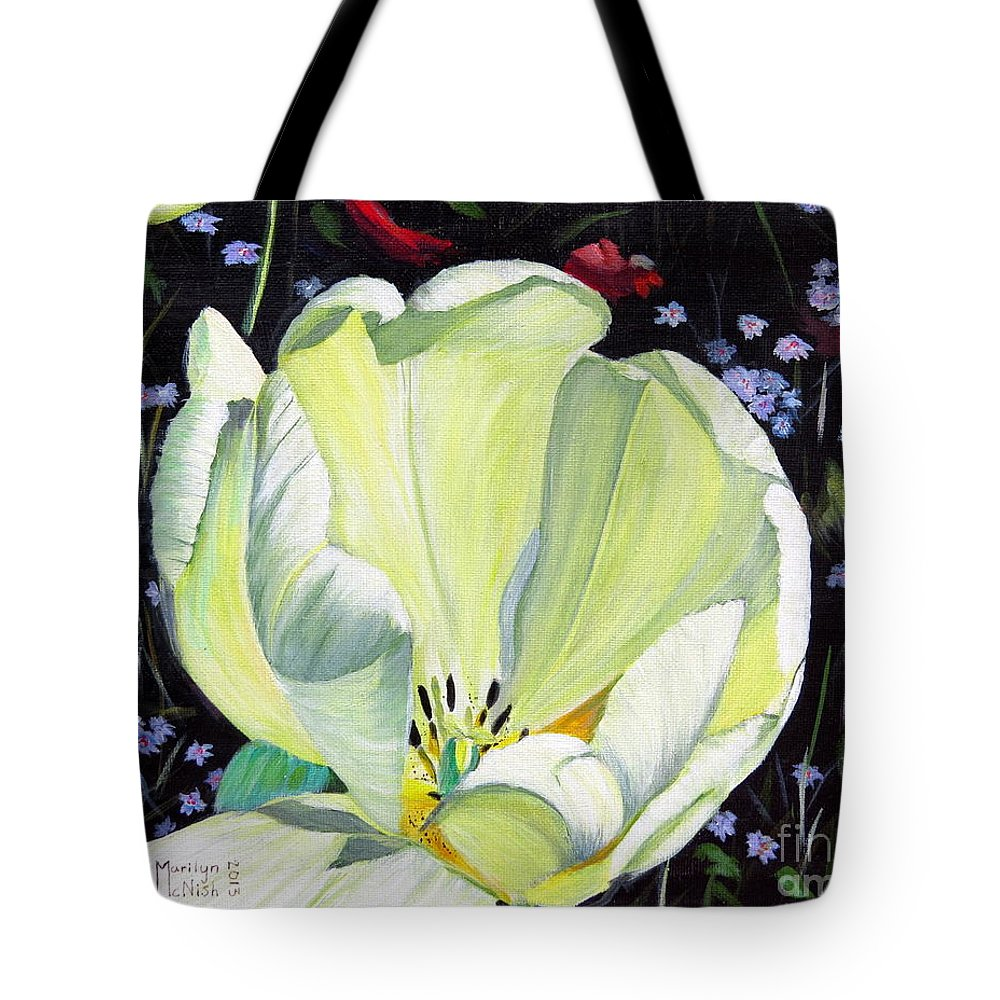 Tulip Tote Bag featuring the painting Dancing Alone by Marilyn McNish