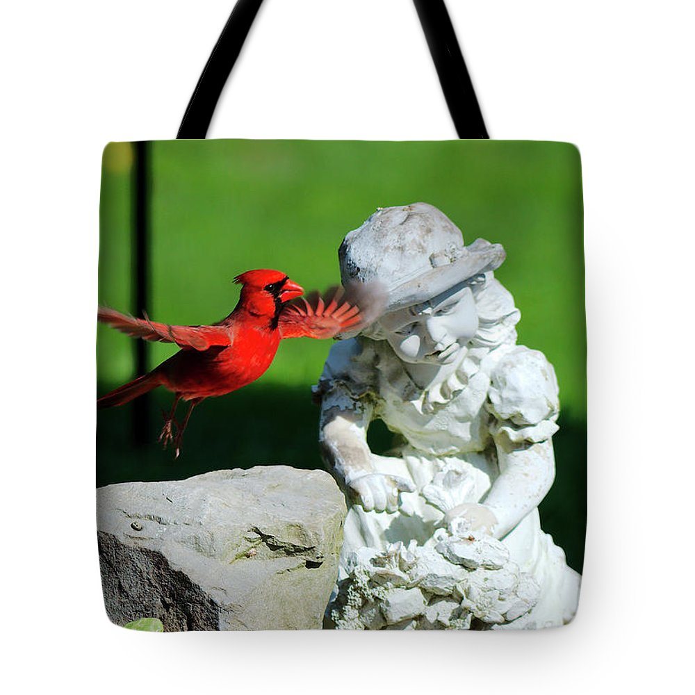 Cardinal Tote Bag featuring the photograph Dancing Cardinal by Mark Madion