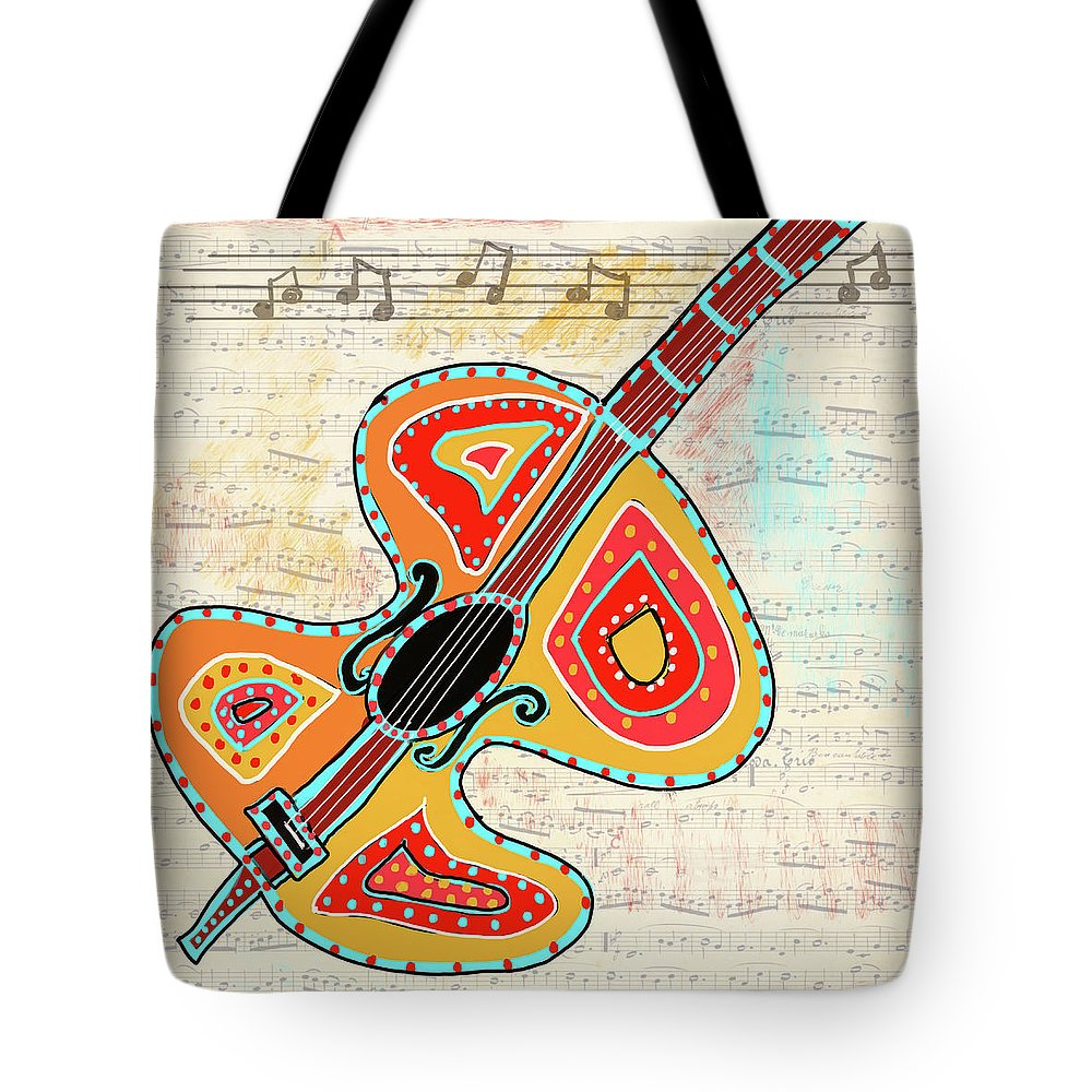 Digital Collage Tote Bag featuring the mixed media Dancing Cello by Dora Ficher