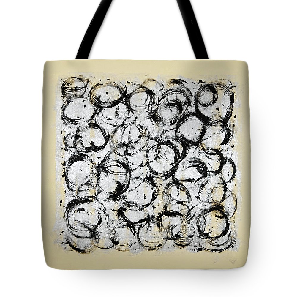Circle Tote Bag featuring the painting Dancing Circles by Julie Niemela