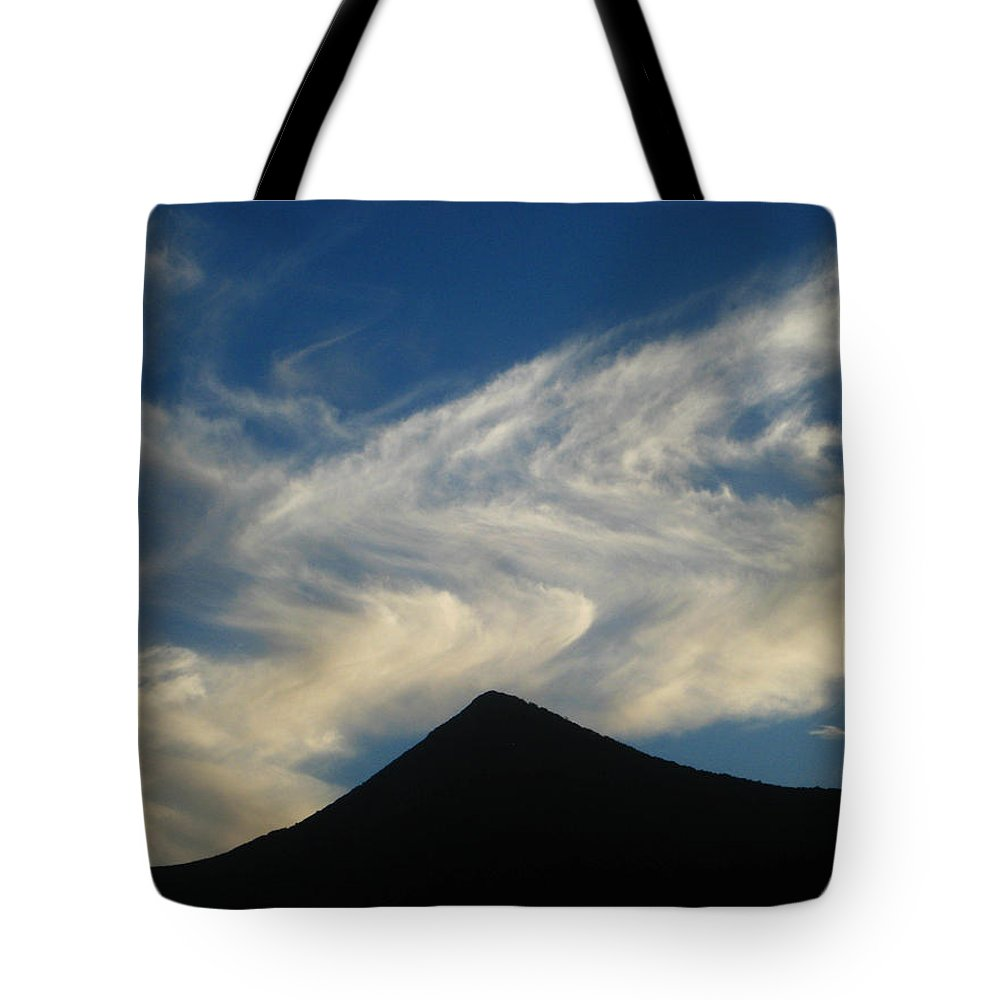 Landscape Tote Bag featuring the photograph Dancing Clouds Above Volcanic Peak by Andrea Freeman