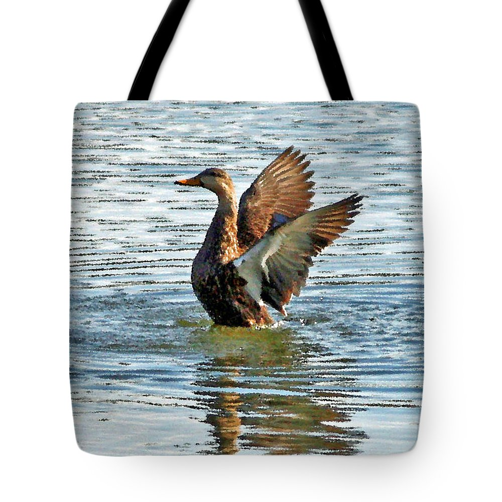 Mottled Teal Tote Bag featuring the photograph Dancing Duck by Carol Groenen