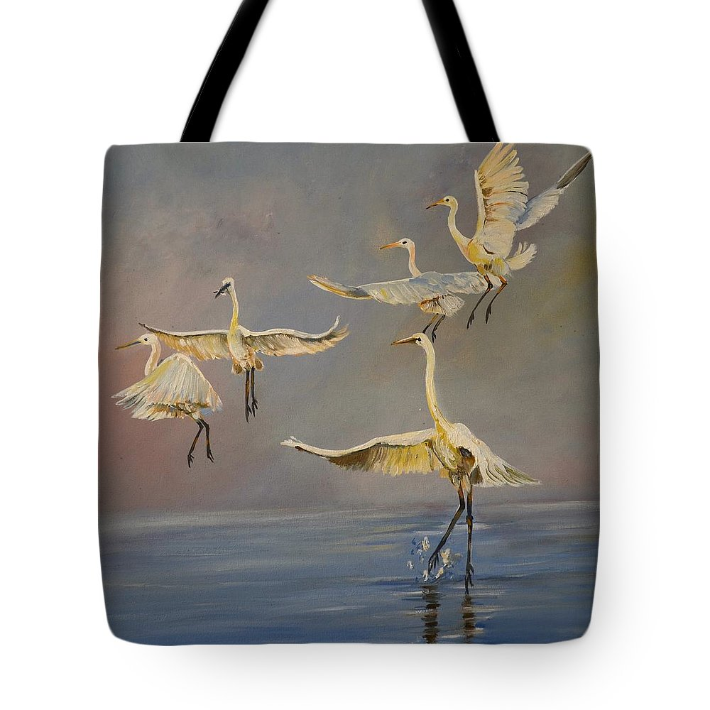 Egrets Birds Wild Life Kunjawildlifeart Tote Bag featuring the painting Dancing Egrets by Cynthia Farr
