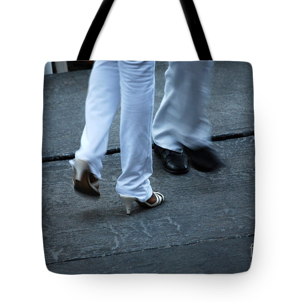 Dancing Tote Bag featuring the photograph Dancing Feet At The Dominican Republic Son Party Number One by Heather Kirk