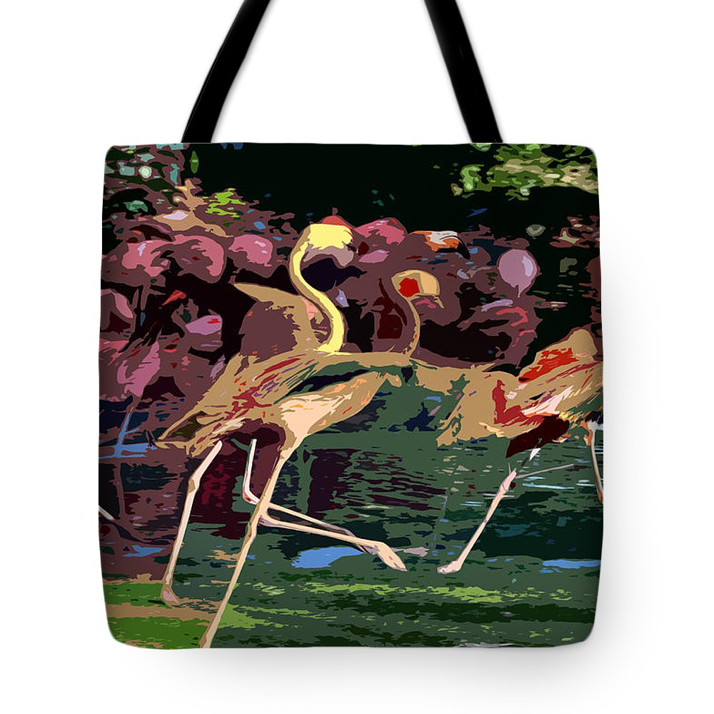 Flamingos Tote Bag featuring the painting Dancing Flamingos by David Lee Thompson