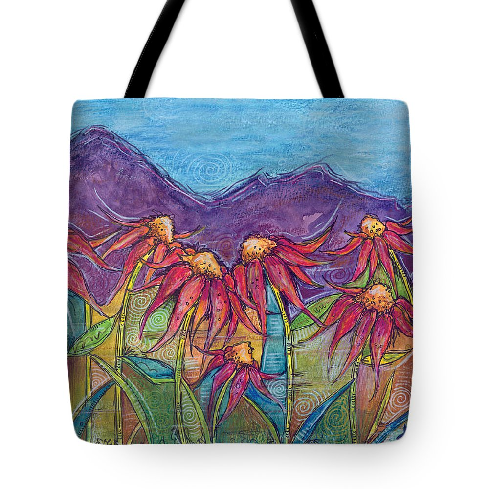 Nature Tote Bag featuring the painting Dancing Flowers by Tanielle Childers