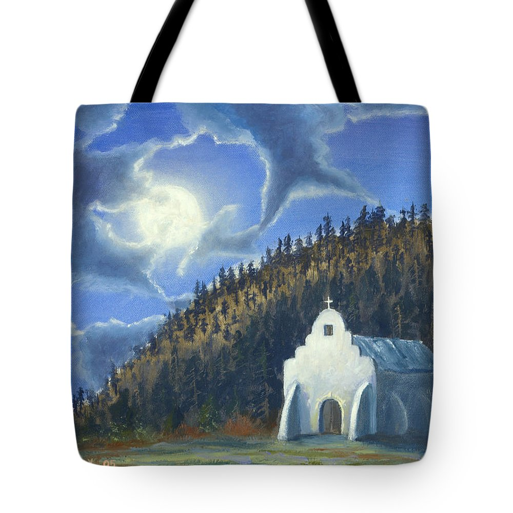 Landscape Tote Bag featuring the painting Dancing In The Moonlight by Jerry McElroy