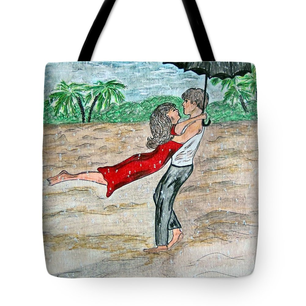 Dancing Tote Bag featuring the painting Dancing In The Rain On The Beach by Kathy Marrs Chandler