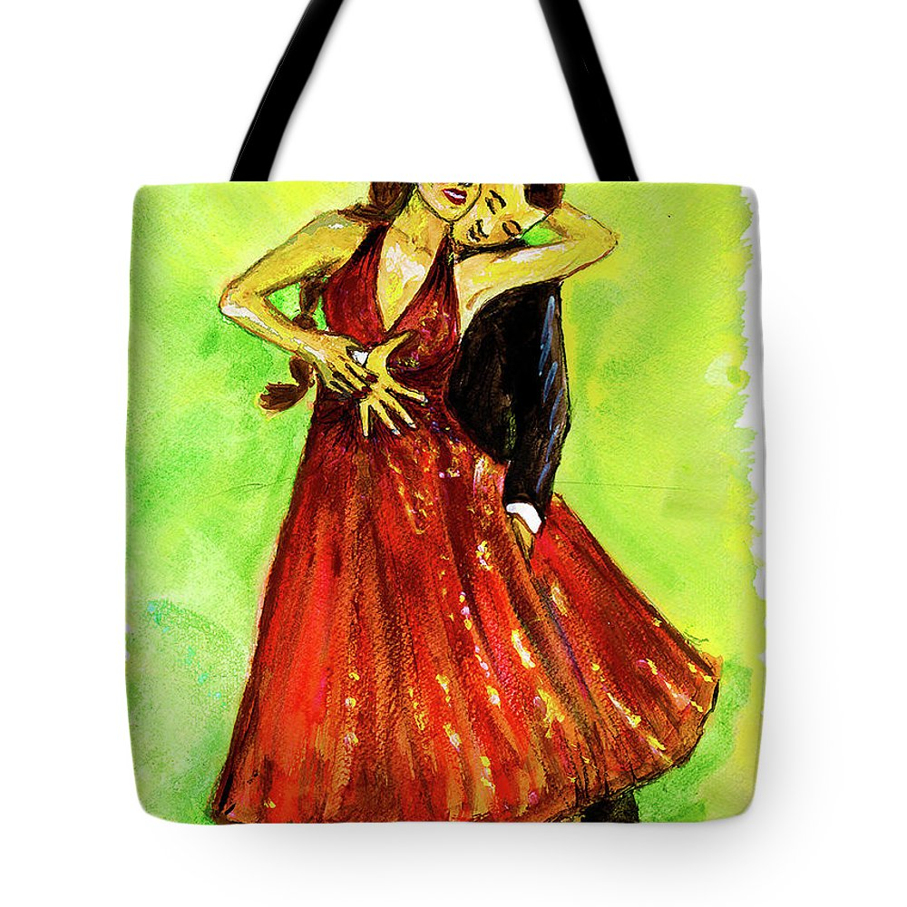 Dancing With The Stars Tote Bag featuring the painting Dancing In The Showlights by Stephanie Clarkson