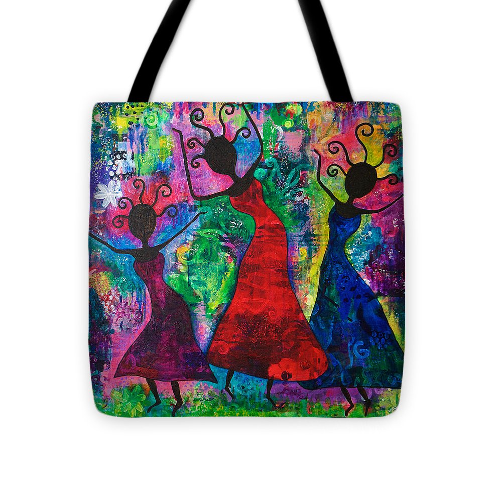 African Tote Bag featuring the painting Dancing Ladies by Holly Dodson