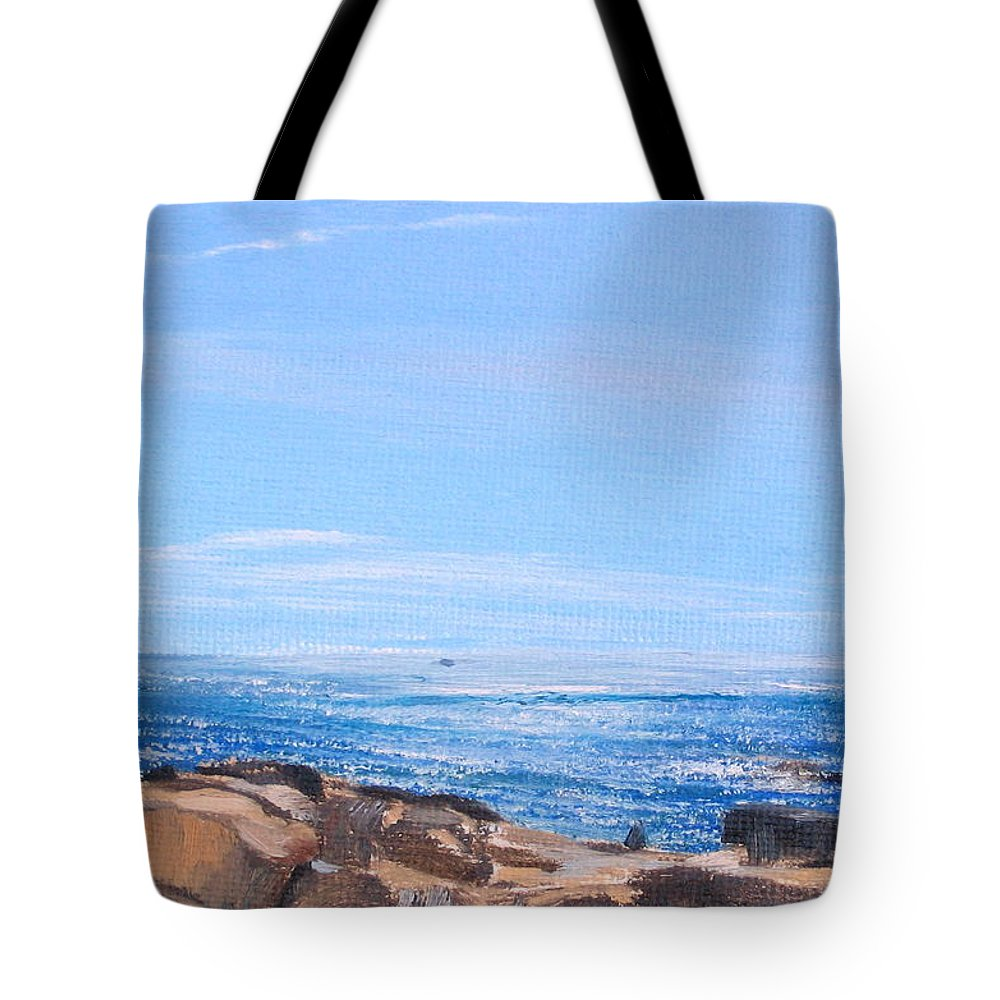 Seascape Tote Bag featuring the painting Dancing Light by Lea Novak