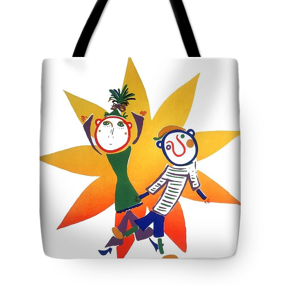 Sun Tote Bag featuring the painting Dancing by Minako Oka