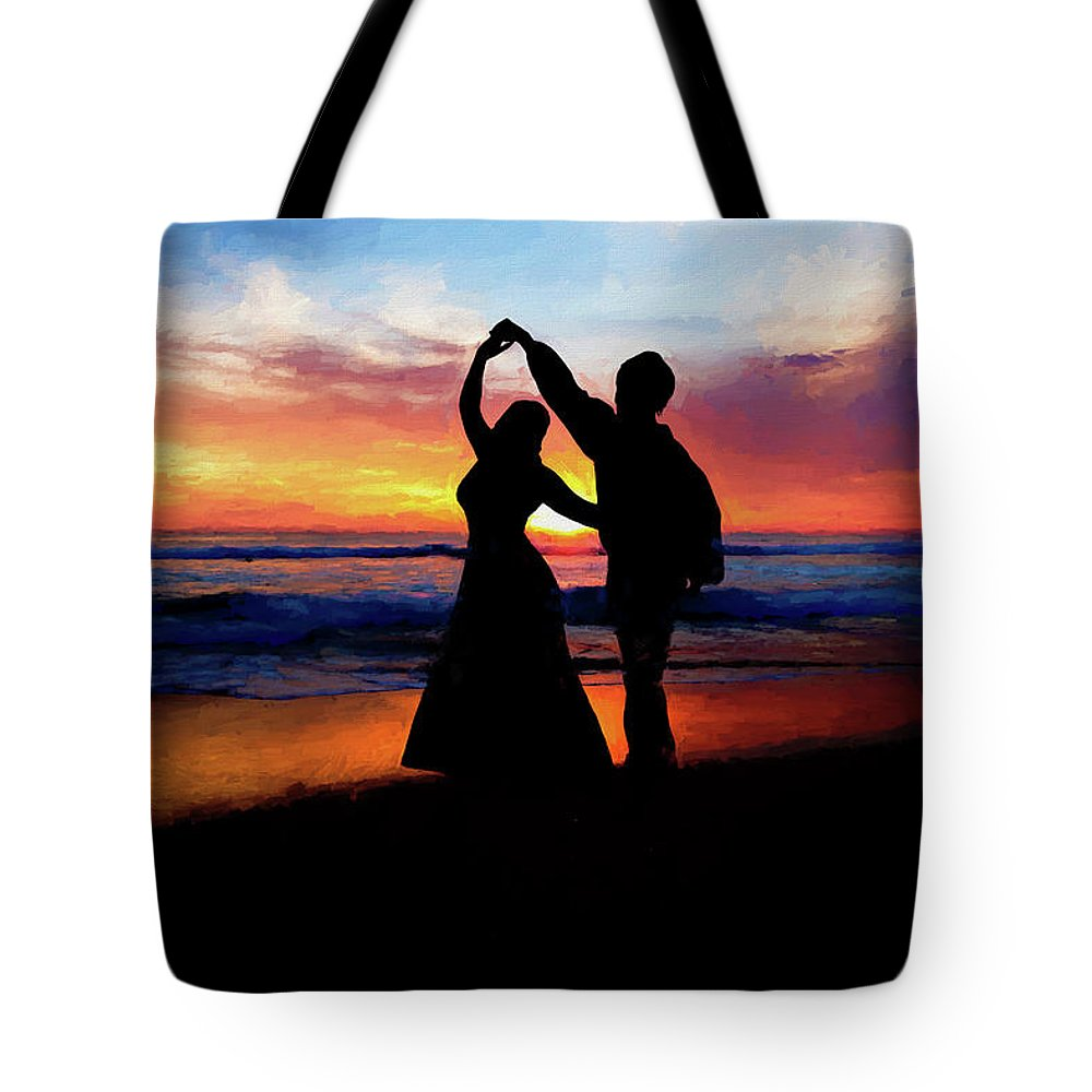 Shadow Tote Bag featuring the painting Dancing On The Beach - Painting by Ericamaxine Price