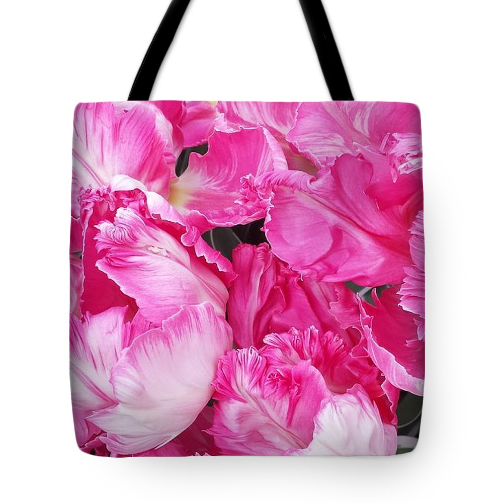 Parrot Tulips Tote Bag featuring the photograph Dancing Parrot Tulips of Holland by Beril Sirmacek