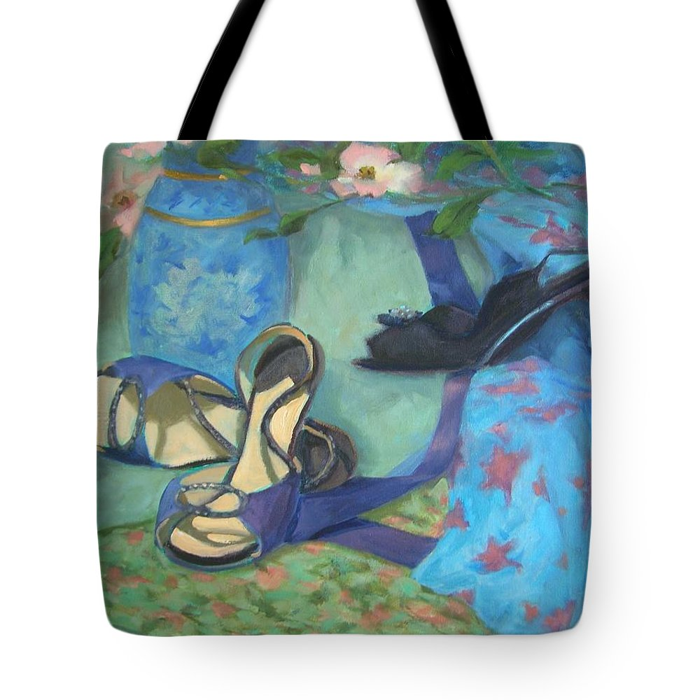 Dancing Tote Bag featuring the painting Dancing Shoes And Dogwoods by Margaret Aycock