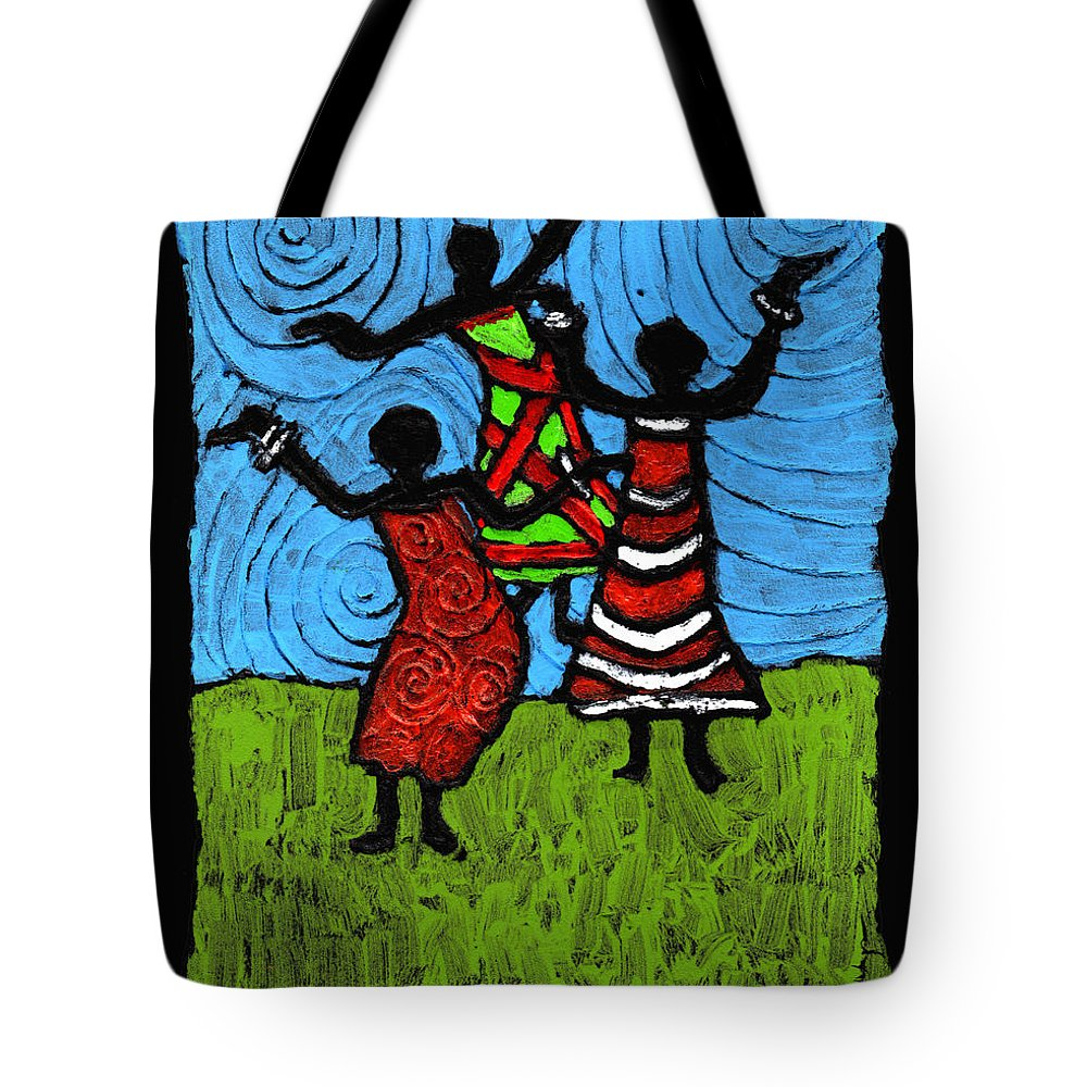 Black Art Tote Bag featuring the painting Dancing So Good I Started To Fly by Wayne Potrafka