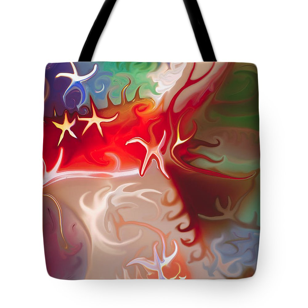 Blue Tote Bag featuring the painting Dancing Stars by Omaste Witkowski