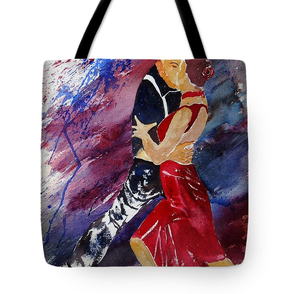 Tango Tote Bag featuring the painting Dancing Tango by Pol Ledent