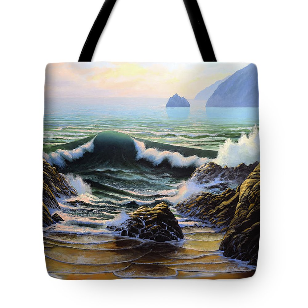 Dancing Tide Tote Bag featuring the painting Dancing Tide by Frank Wilson