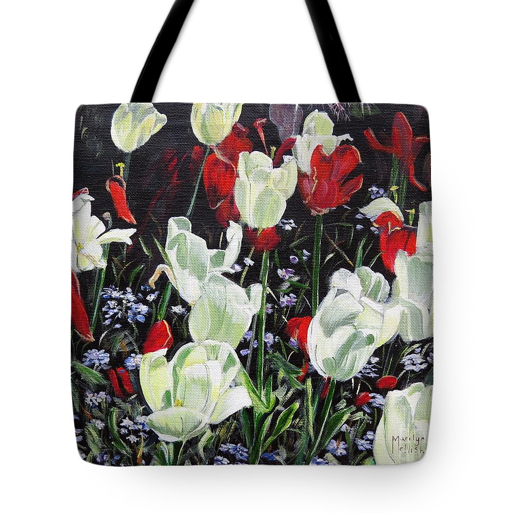 White Tulips Tote Bag featuring the painting Dancing Tulips by Marilyn McNish