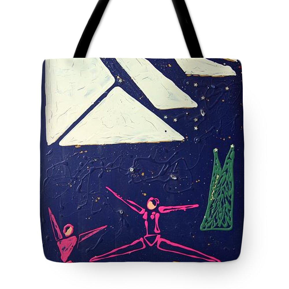 Dancers Tote Bag featuring the mixed media Dancing Under The Starry Skies by J R Seymour