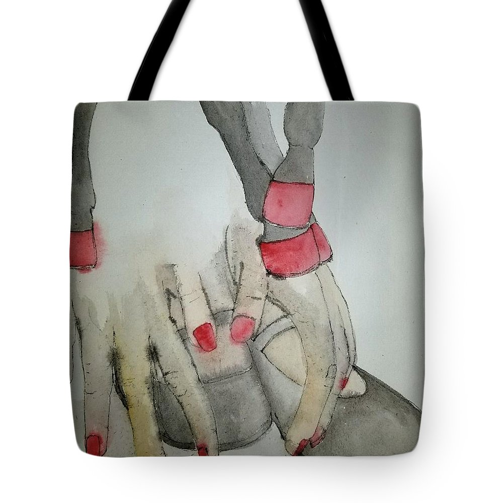 Horse. Girl. Dance Tote Bag featuring the painting Dancing With Me Album by Debbi Saccomanno Chan