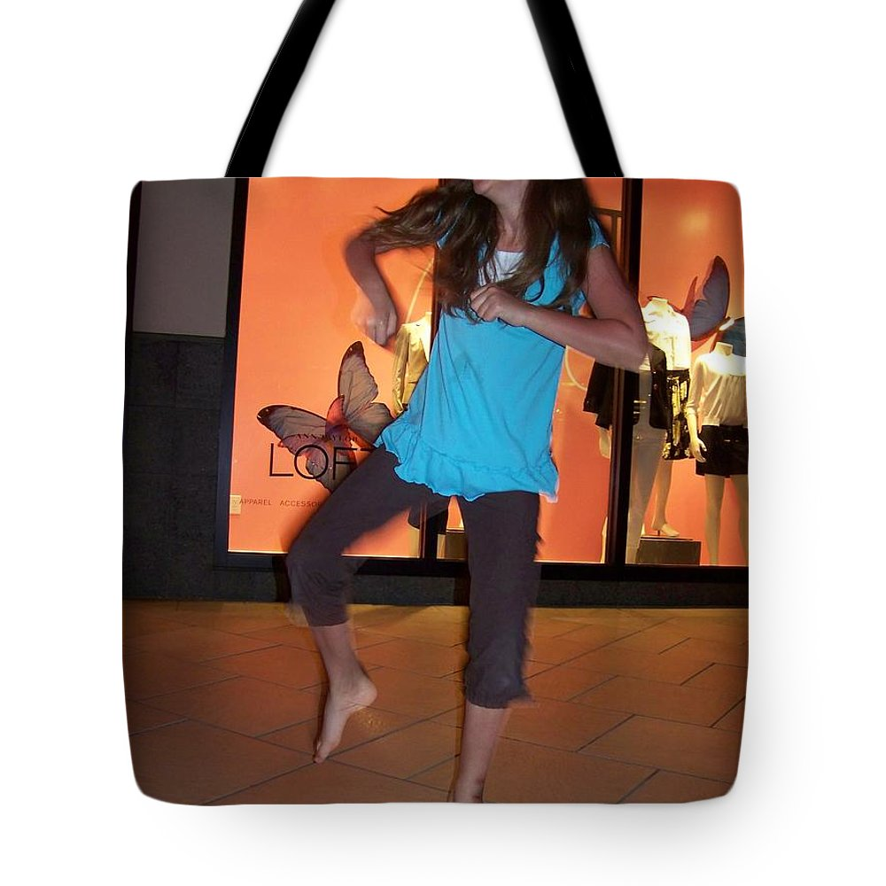 Girl Tote Bag featuring the photograph Dancing Young Girl by Laurie Paci