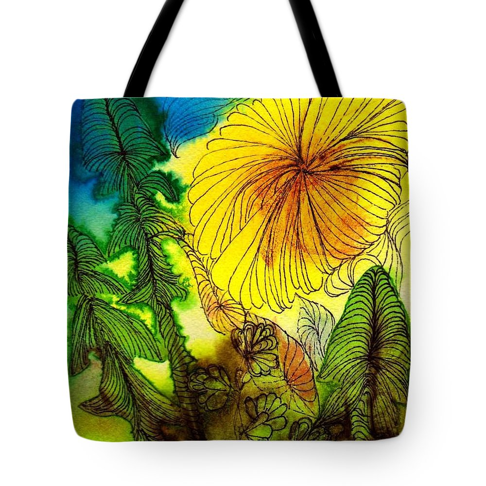 Flowers Tote Bag featuring the painting Dandelion by Anne Duke