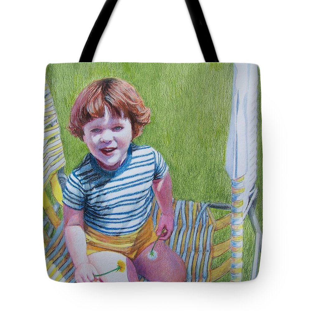 Green Tote Bag featuring the mixed media Dandelion Girl by Constance DRESCHER